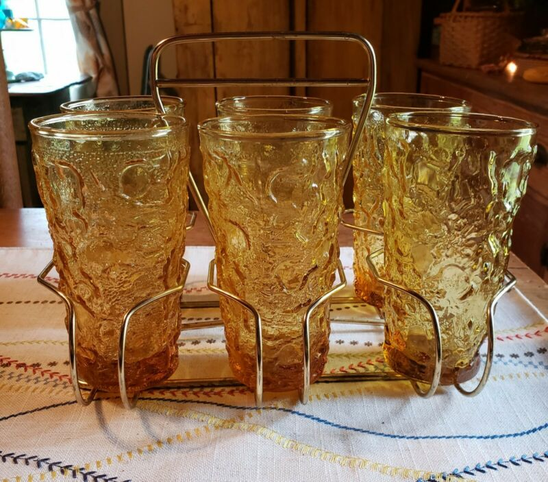 "6 Amber Lido Milano 12oz Tumblers Glasses 5.5"" Crinkle w Carrier"