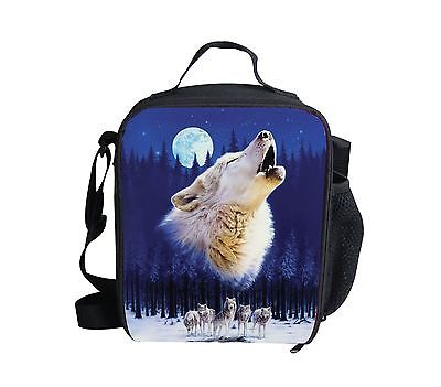 Cool Wolf Blue Thermal Waterproof Lunch Bag Cooler Bento Box Picnic for - Cool Lunch Bags For Boys
