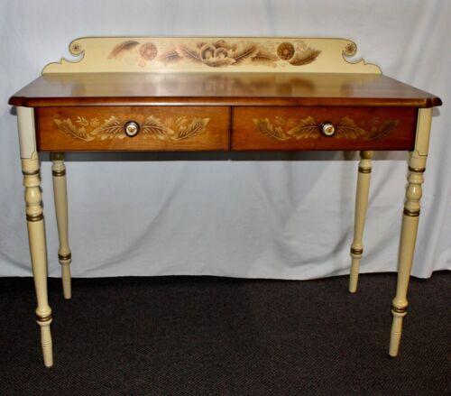 Vintage L. HITCHCOCK SIGNED DESK. Gold Trim. Stenciling. 2 Drawers w/Eagle Pulls