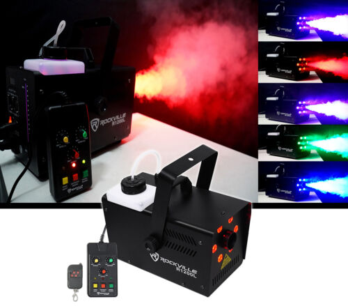 Rockville R1200L Fog/Smoke Machine w LED Lights/Strobe, 7 Channel DMX+2 Remotes