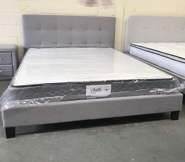 Brand new fabric bed frame with super strong slats D$220,Q$240