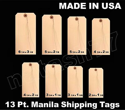 100 Manila 13 Pt. Inventory Shipping Hang Price Tags Pre- Wired 12345678