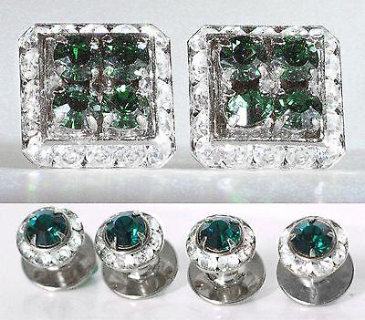 Emerald Stud Cufflinks - EMERALD CRYSTAL SQUARE CUFFLINKS & ROUND STUDS TUXEDO SET W/SWAROVSKI CRYSTALS