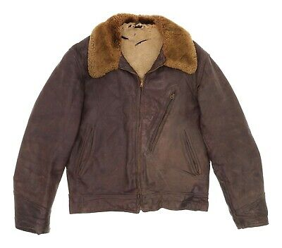 VTG Horsehide Leather Jacket M Medium Mens Shearling Motorcycle Jacket Grizzly