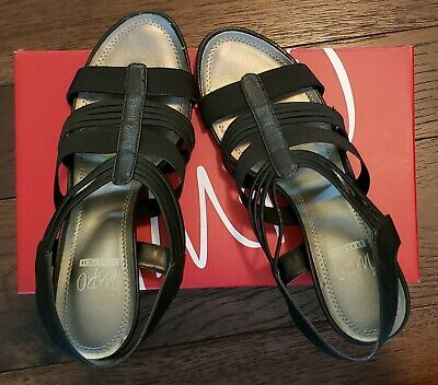 Impo Womens Black Wedge Sandals Shoes Size 9 M ~ Stretch ~ Very NICE!