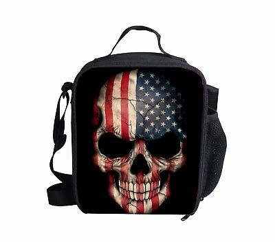 Skull Cooler Thermal Insulated Lunch Bag Tote Bento Box Cont