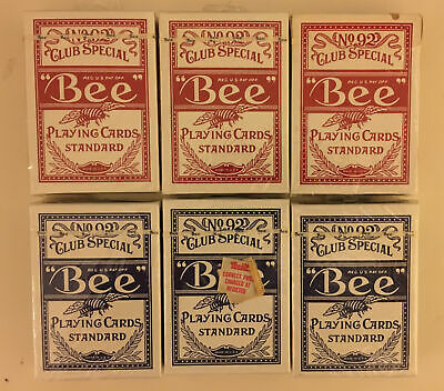Lot of 6(5 Sealed 1 Open) Bee No. 92 Standard Size Playing Cards Cambric Finish