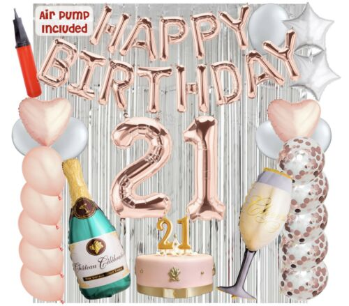 21st Birthday Decorations Balloons with Air Pump - Bundle All-In-One 43 Pieces
