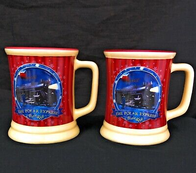 Polar Express Train Ride Coffee Mug Set Believe Gold Ticket Christmas Cups READ