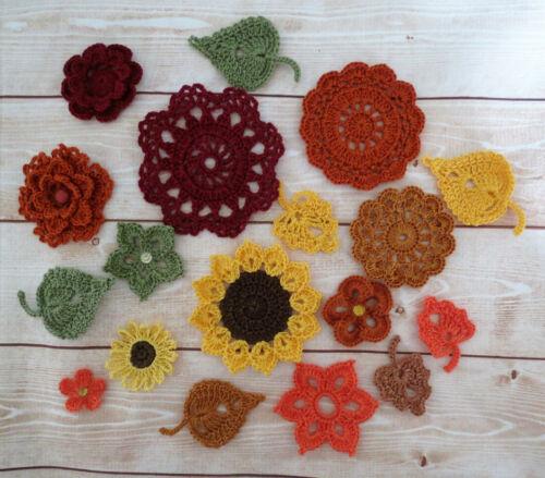 Crochet Flower Sunflower Leaves Doily Applique Embellishment Fall color 17 pcs