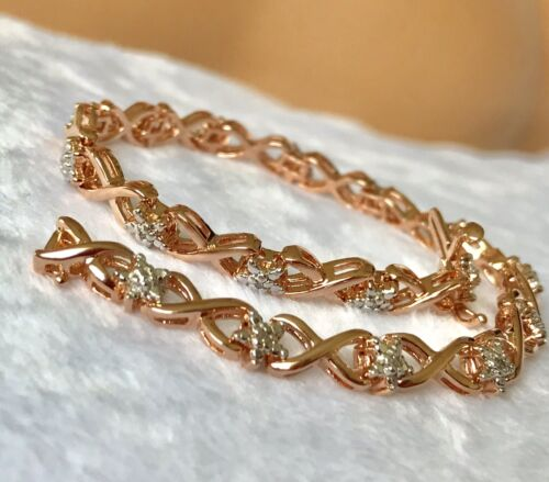 Amazon Collection Rose Gold Over Sterling Silver Diamond Lin