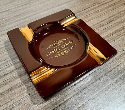 """Square Ceramic Cigar Ashtray - Brown Large 8"""" Heavy Outdoor Indoor Ashtray"""
