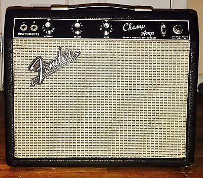 Vintage 1966 Fender Blackface Champ Amp Tube Amplifier