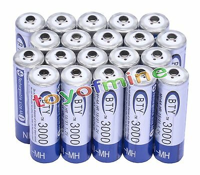 20 pcs X AA BTY Rechargeable Battery 3000mAh Ni-MH 1.2V US Fast Ship on Rummage