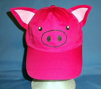 Farm animal costume hats;baseball cap-pig pink;adjustable-dress up school play  - Dress Up Hats