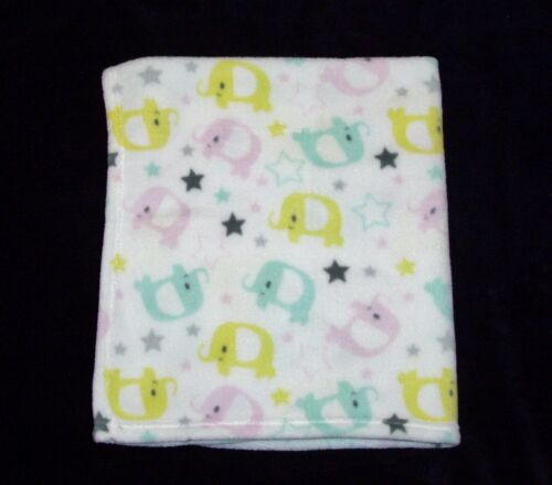 Cutie Pie Pink Aqua Yellow Elephant Baby Blanket Gray Stars Security Lovey