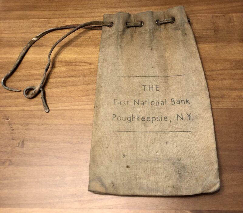 The First National Bank of Poughkeepsie Dutchess New York NY Vintage Deposit Bag