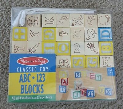 Melissa & Doug Deluxe Wooden ABC/123 47 Blocks Set With Storage Pouch