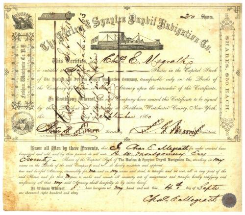 Harlem & Spuyten Duyvil Navigation Co. Stock Certificate. 1860