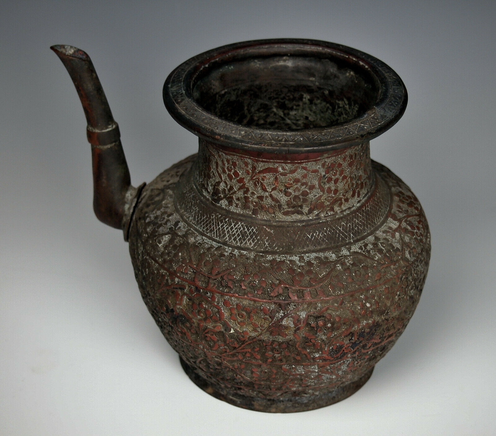 1700s MUGHAL HAND HAMMERED PITCHER India Indo Persian Lota Pot Fine Antique Ewer - $625.00