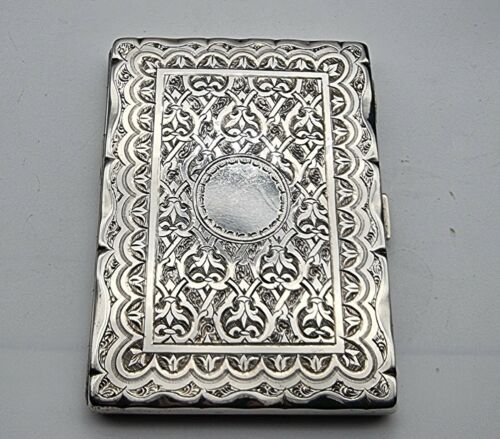 NICE GOOD CONDITION ANTIQUE STERLING SILVER CARD CASE / AIDE MEMOIRE BIRM 1868