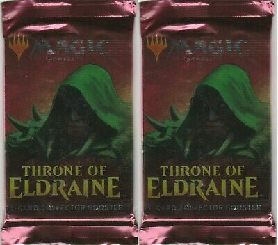 2-Magic The Gathering MTG THRONE OF ELDRAINE Collector Edition Booster FOIL PACK