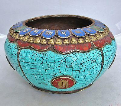 "7.6"" Antique Tibet / Tibetan Copper, Turquoise, Carnelian & Enamel Vase or Bowl"