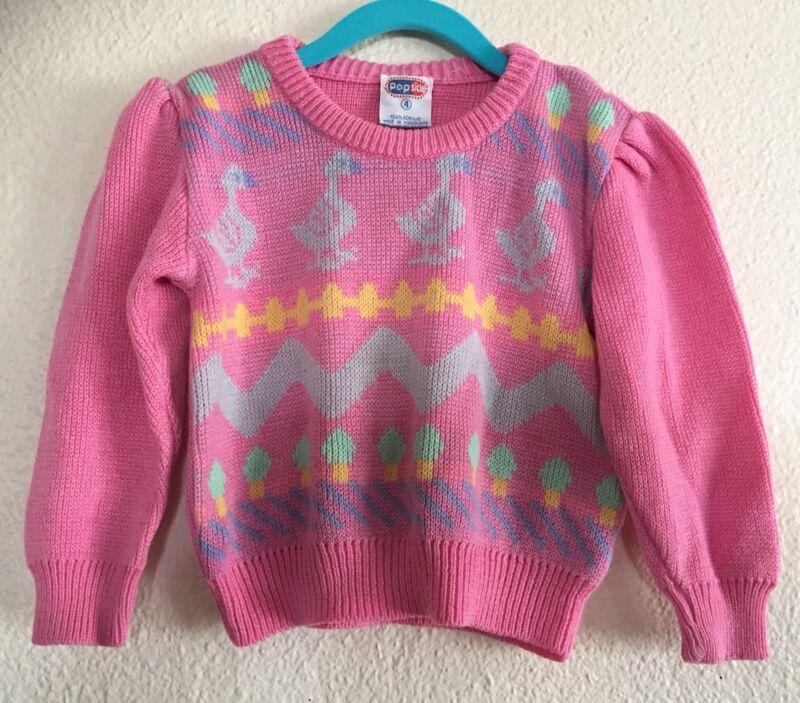 VTG Girls RARE Popsicle Brand Sweater Pink Goose Icecream Cone Size 4