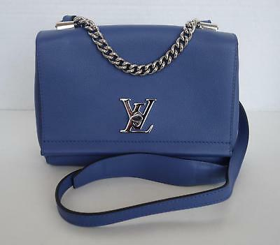 LOUIS VUITTON Blue Leather Lockme II BB Cross Body Shoulder Bag 2016