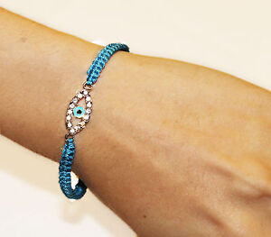 Evil Eye Woven Macrame Charm Dainty Bracelet Adjustable Blue Jewelry Women Gift