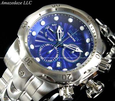 NEW Invicta Men's 52mm Venom Swiss Chronograph Stainless Steel Blue Dial Watch