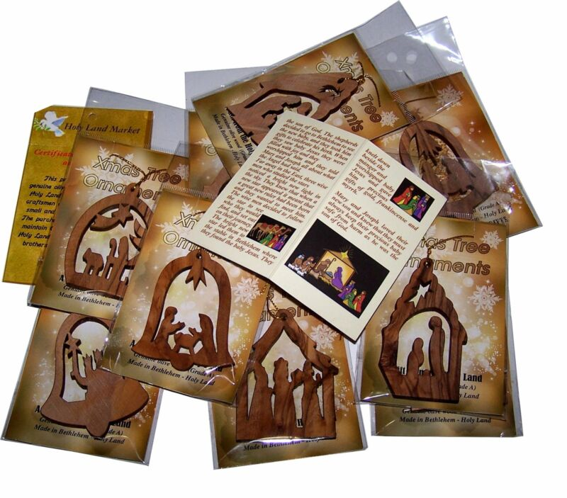 Olive Wood Ornaments - Mix (Set of 12 Flat Ornaments) with Nativity Story