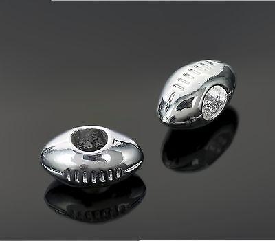 Silver Tone Football Beads Fit European Charm Bracelets - Sports Pigskin Charms (Football Beads)