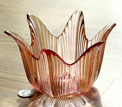 PINK glass FLOWER ribbed petal CANDLE BOWL L.E.Smith 8320/8 1984