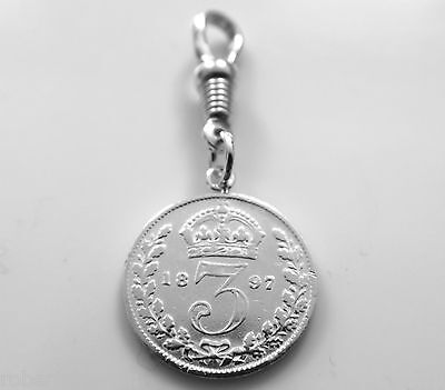 Sterling Silver 1897 Three Pence Coin Pocket watch or Albert Chain Fob Charm -