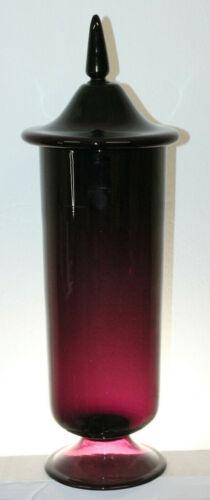 LARGE VINTAGE PONTILED CRANBERRY GLASS APOTHECARY JAR BOTTLE 21