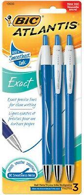 Bic Atlantis Exact Fine Point Retractable Ball Pen Blue 3 Ea