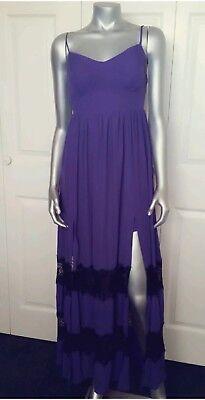 100   Authentic Nwt Bebe Lace Inset Panels Maxi Dress Size Xs
