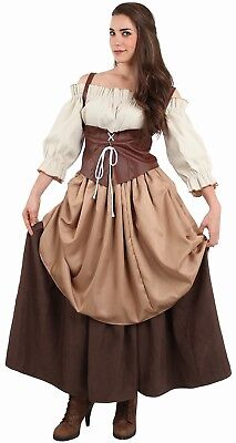 Kostüm Frau Bäuerin Mittelalterliche Braun M 40 Luxus Magd Mittel Age Neu