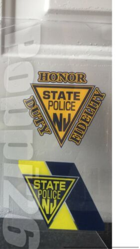 NJ  NJSP (2) New Jersey State Police OFFICIAL InWindow Faces Out Decal sticker