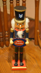 Merry Christmas Holiday LARGE / TALL Wooden Nutcracker Soldier Decoration