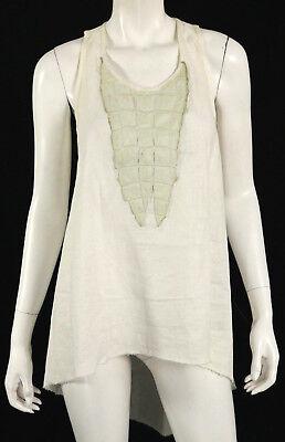 ISAAC SELLAM White Linen Crocodile Skin Bib Sleeveless Tunic Blouse S