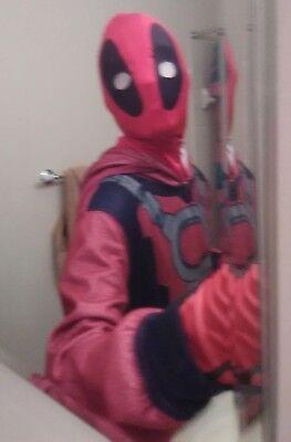Adult Mens Deadpool union suit, Mask, gloves, and socks Size MD (Deadpool Suit)