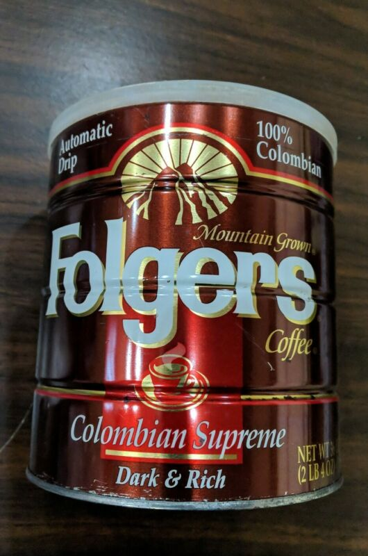 Vintage/Antique Mountain Grown Folgers Tin Metal Coffee Can w/ Lid-Auto Drip