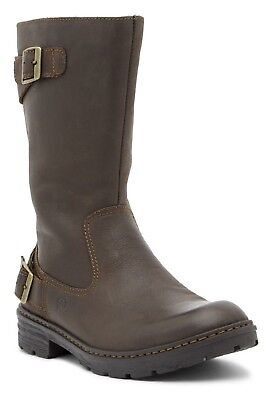 09a909fccb3 Born Riverton Leather Moto Boot Buckle Strap Zip Closure Dark Brown Size  11.5