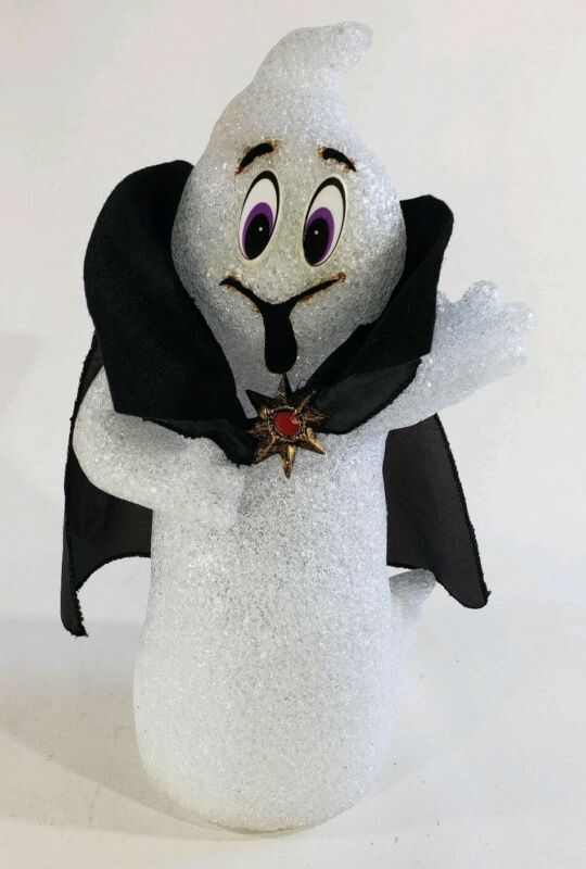 "Halloween Lighted Melted Plastic Popcorn Ghost 16"" T White Dracula Works"