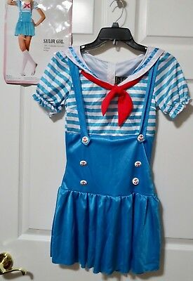 Sailor Girl Dress Costume Blue & White w/Red Accents Junior's Medium/Large - Girls Sailor Costume