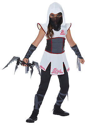 Mysterious Fearless Ninja Warrior Girls Child Costume White Red  - Girl Ninja Warrior