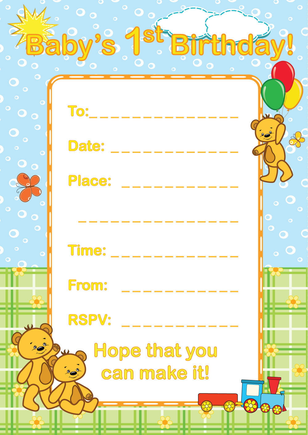16 A6 Birthday Party Invitations Toddler Baby Blank Invites Animal Themed
