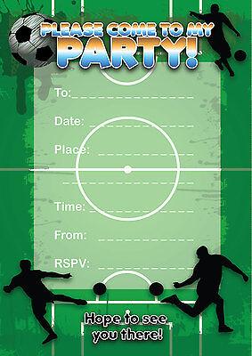 16 A6 Birthday Party Invitations Kids Blank Invites Football Soccer Sport Themed